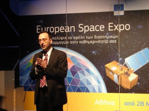Athanasios Potsis from the Hellenic Space Industry - One of the several presenters at the exhibit