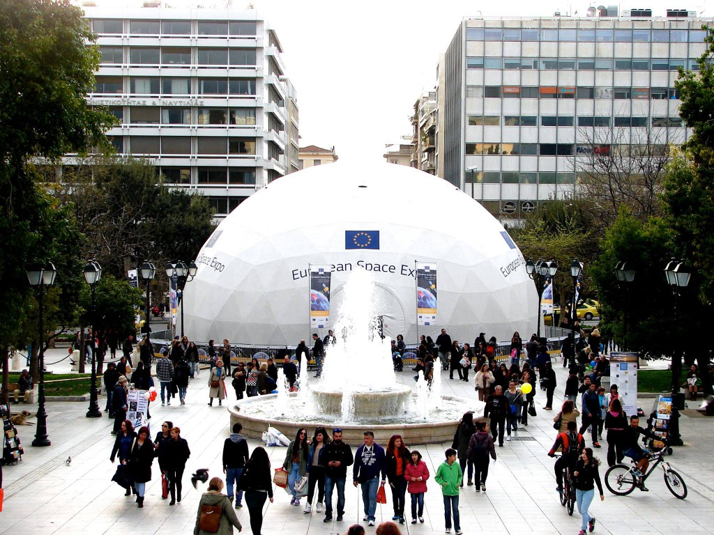 The ESE as it stands in Syntagma Square and will remain until 5 April