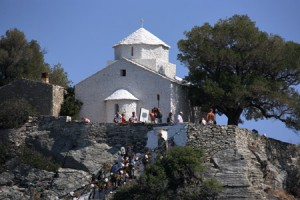 The Agios Ioannis chapel during filming of the wedding scene for Mamma Mia!, one of the most profitable films for Greece's tourist industry.