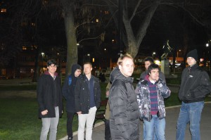 Friday's event was the first one organized by the young men. The president of their group, Konstantin Milosavljevic, seen in the front, is eighteen years old.