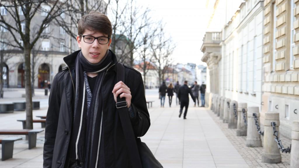 24-year-old Piotr Świstak outside Warsaw University, where he studies Spatial Development. Photo: Rikke Mathiassen & Maria Danmark