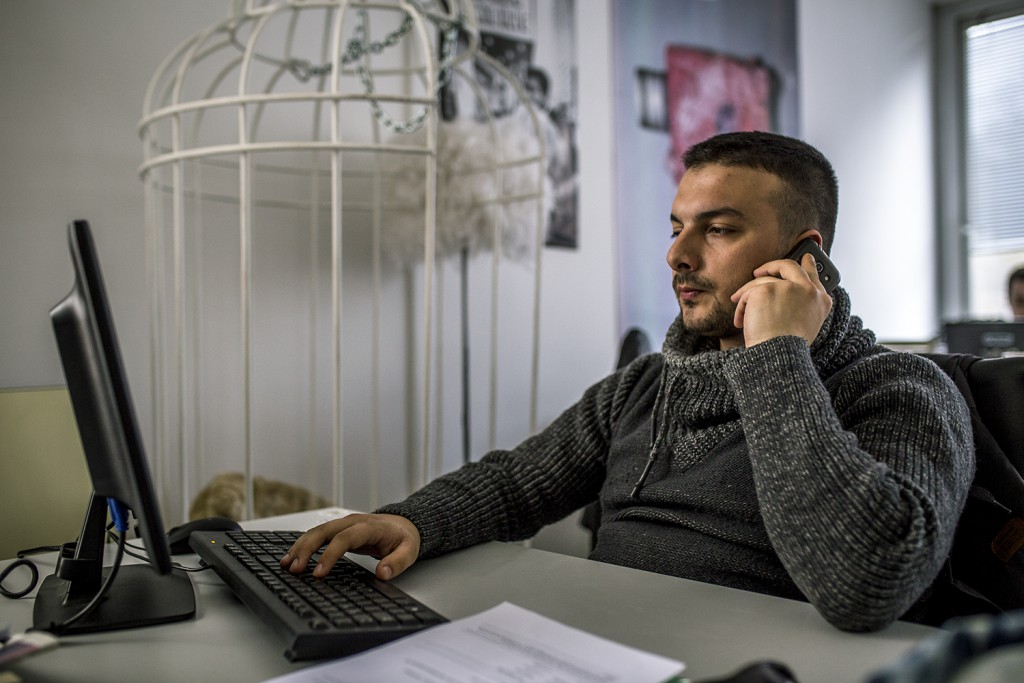 Stefan Veselinovic, Vice's youngstest reporter, having a busy day full of researching and calling.