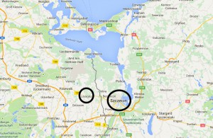 The family's former home city Szczecin is 15 km away from the German border and 25 km away from Löcknitz.